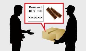 [イラスト]「ダウンロードキー」が、宅配便で届きます(現像済みフィルムも同封)。
